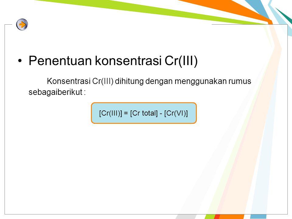 [Cr(III)] = [Cr total] - [Cr(VI)]